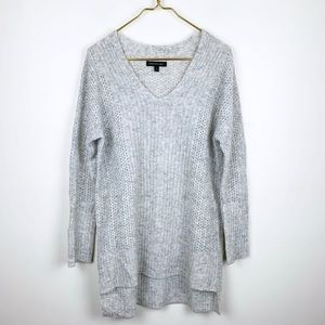 Free People Chunky Knit Tunic V Neck Sweater